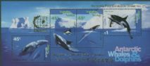 AAT SGMS112 Whales and Dolphins Miniature sheet overprinted for Singapore 95